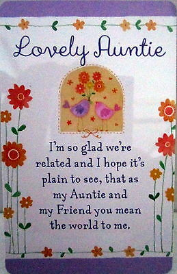 "Heartwarmer Keepsake Message Card ""lovely Auntie"" Beautiful Verse Christmas Gift"