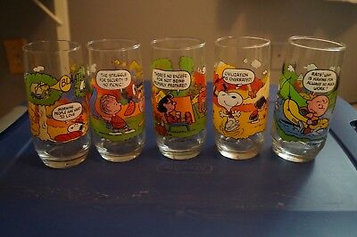 Camp Snoopy Collector Glasses - Complete set of 5 from McDonald's-Vintage