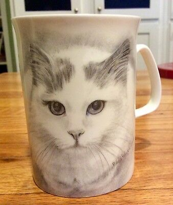 kitty cat cup white grey made in England (kitten with attitude) MEOW!