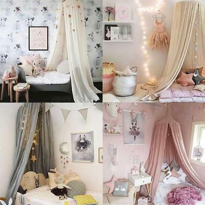 AU Summer Linen Mesh Bed Mosquito Net Canopy Kid Baby Round Dome Bedding Curtain