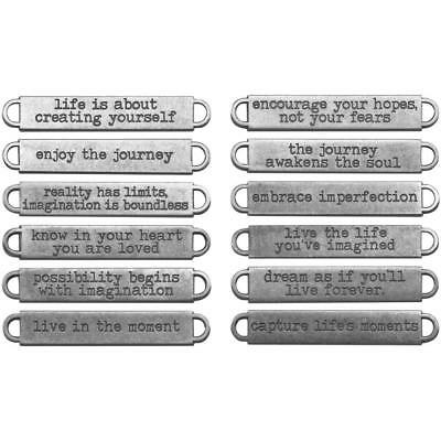 Idea-Ology Word Bands Antique Nickel ~ LIFE ~ 12 pcs Mixed Media Journals Metal