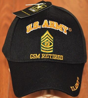 New Black US Army CSM Command Sergeant Major Retired Hat Ball Cap Veteran E-9