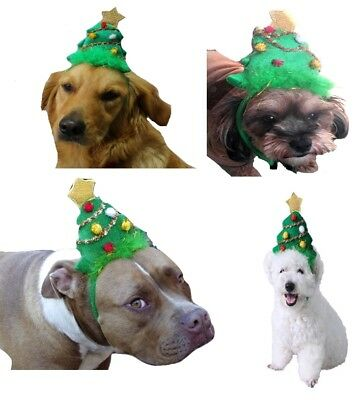 Dog Christmas Tree Hat M L  - Adjustable Puppy Pet  Dress Up Costume Xmas Party