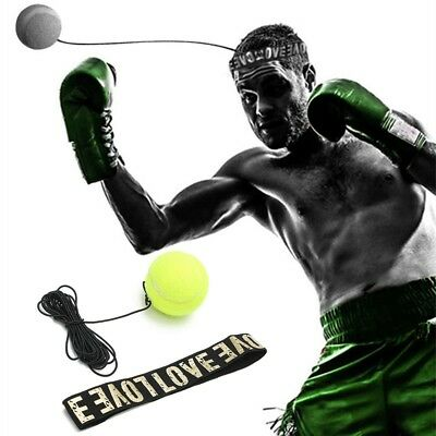 Lutte Ball & Head Band pour Reflex Speed Training Boxe Punch Exercice Jaune KK