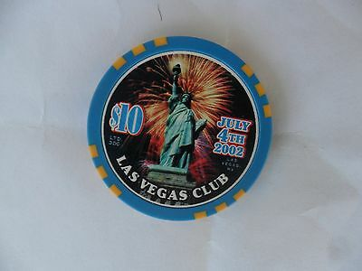 $10 Las Vegas Club 2002 4Th Of July Chip Statue Of Liberty Flag Obsolete