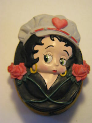 Biker Betty Boop Resin Trinket Box With Flames & Roses