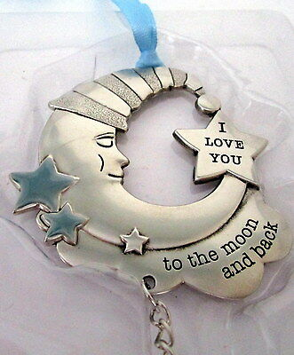 """Baby Keepsake Blue & Silver """"love You To The Moon & Back"""" Hanging Ornament Bn"""