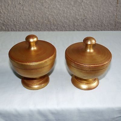 Pair Large Gold Hardwood Bed Post Furniture Finials