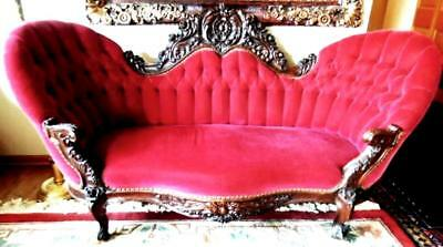 Antique Rosewood Settee Sofa Carved  Renaissance Revival  Tufted Back Kid Mohair