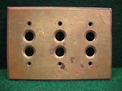 Switch Plate Cover Vintage Brass Three (3) Gang Push Button  Antique
