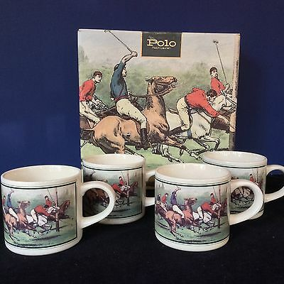 POLO RALPH LAUREN HORSES Set 4 COFFEE TEA MUGS CUPS ORIG BOX VTG 1978