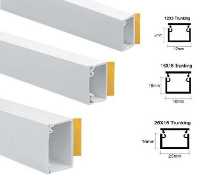 Self Adhesive Cable Management Tidy Pvc Trunking All Sizes - 1 Meter Lengths