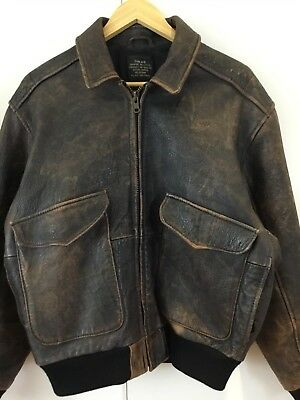 VINTAGE 80's Air Force DISTRESSED LEATHER Bomber ATELIER A-15 FLIGHT JACKET L