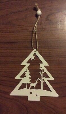 1 x Christmas Metal Cutout Ornament Decoration White Tree Shape With Design NEW