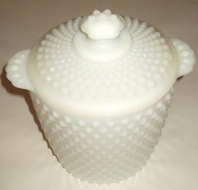 Large Retro Vintage Cookie Jar - Anchor Hocking Hobnail Milk Glass Biscuit Jar