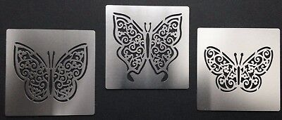 Lattice Filigree Lace Butterfly Stainless Steel Stencil Template 5cm Wingspan