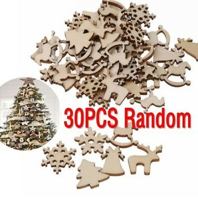 30Pcs DIY Craft Christmas Xmas Wood Chip Hanging Ornaments Decoration Gift Set