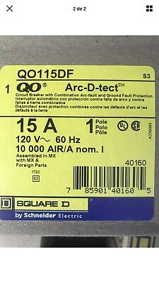 NEW IN BOX Lot Of 10 Qty Square D QO115DF 1 Pole 15A Circuit Breaker