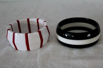 Vintage Lot Of Two Plastic Bracelets Expandable Red & White Solid Black & White