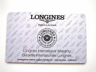Longines International Watch Warranty Card ~ New