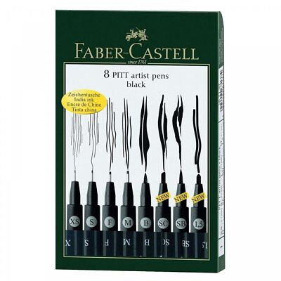 Faber Castell Pitt Pens Black Drawing Artist Fineliner Set of 8 Pens Art
