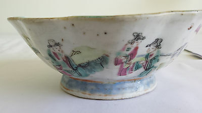 Antique Marked Qing Chinese Handpainted Ceramic or Porcelain Bowl As-is