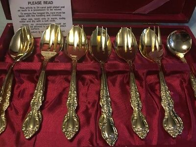 Vintage Marjonette 24 Carat Gold Plated Cutlery Dessert Fork And Spoon Set 13pc