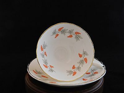 Crown Staffordshire CRS2 Orange Berries Grapes Grey Leaves Footed Tea Cup Saucer
