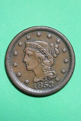 1853 Braided Hair Large Cent Exact Coin Pictured Flat Rate Shipping Lot#2011#180
