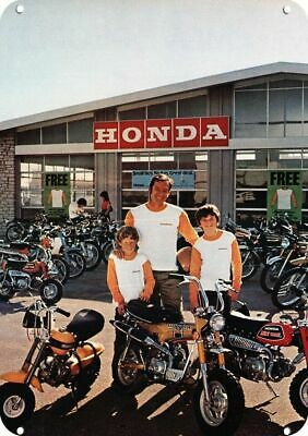 1972 HONDA MOTORCYCLE Replica Metal Sign - DAD & HIS 2 SONS BUY HONDA MINI BIKES