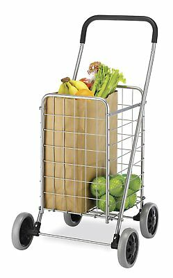 Folding Shopping Cart Whitmor Rolling Utility w/ Wheels Laundry Grocery Travel