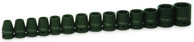 Williams 37912 14-Piece 1/2-Inch Drive Metric Shallow 6 Point Impact Socket Set
