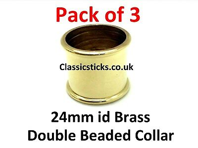 Brass Double Beaded Collar 24mm id Pack 3, walking stick making
