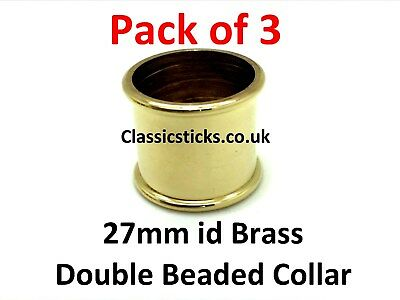 Brass Double Beaded Collar 27mm id Pack 3, walking stick making