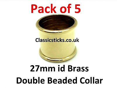Brass Double Beaded Collar 27mm id Pack 5, walking stick making