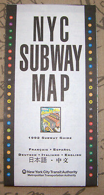 Vintage unused 1992 NYC Subway Map & Guide New York City MTA