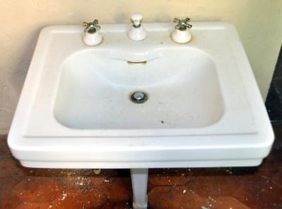 Antique 1920 Standard Porcelain Integral Spout Bath/bathroom Sink Miami Mansion