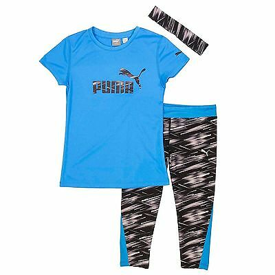 Puma Girls' Capri Set with Headband, Large (12/14), Blue/Black