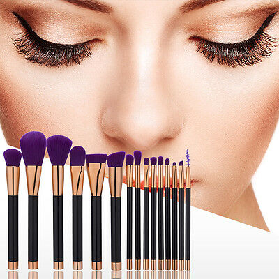 15x Professional Soft Cosmetic Eyebrow Shadow Makeup Brush Tool Set Kit Pop