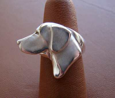 Large Sterling Silver German Shorthaired Pointer Head Study Ring