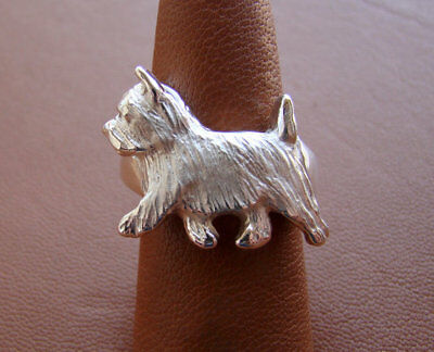 Sterling Silver Norwich Terrier Moving Study Ring