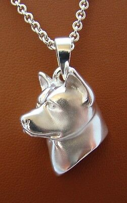 Large Sterling Silver Akita Head Study Pendant