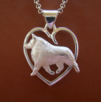 Large Sterling Silver Schipperke Moving Study On A Heart Pendant