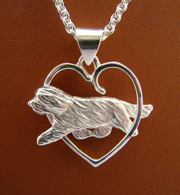 Large Sterling Silver Bearded Collie Moving Study Through A Free Form Heart