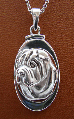 Sterling Silver Shar Pei Head Study On A Vertical Oval Frame Pendant