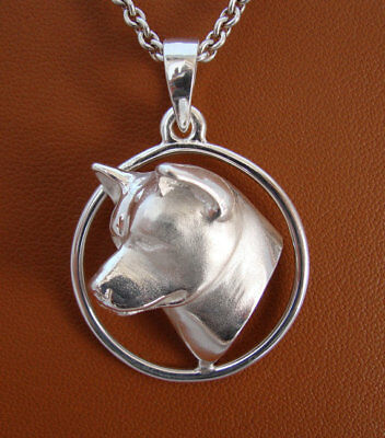 Large Sterling Silver Akita Head Study On A Circle Frame Pendant
