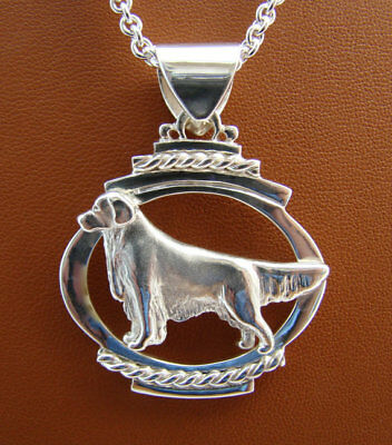 Large Sterling Silver Golden Retriever Standing Study On A Horizontal Oval Frame