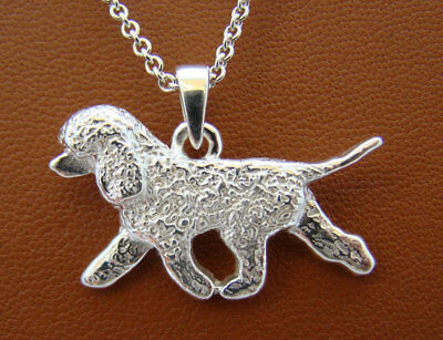 Small Sterling Silver Irish Water Spaniel Moving Study Pendant