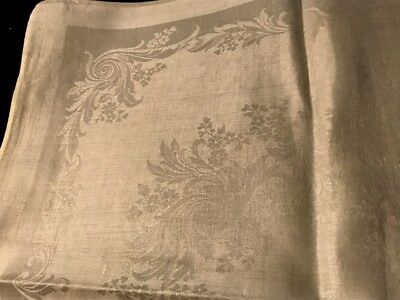 "22""SQ Three Large White Damask Dinner Napkins, Beautiful Victorian Floral Design"