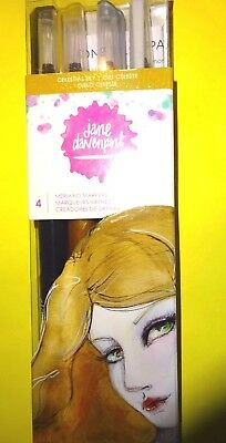 "4 ""SHIMMERING MERMAID MARKERS"" By Jane Davenport CELESTIAL SKY Wht,Gry,YlGold,Bk"